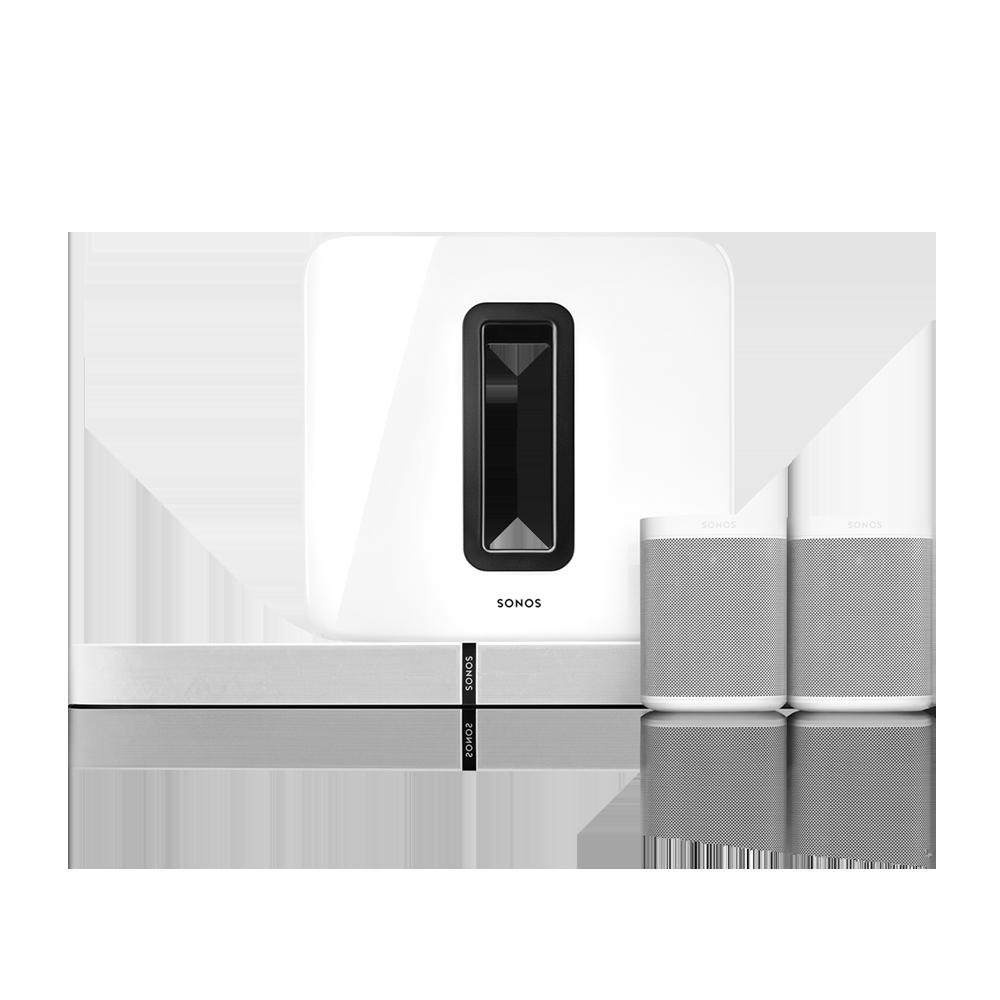 5 1 surround set mit der playbase und dem one wei sonos. Black Bedroom Furniture Sets. Home Design Ideas